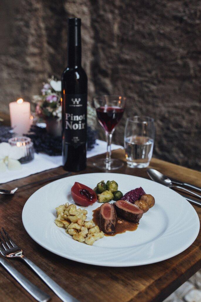 Hochzeitsmenü von Bauer's Catering, Weine von Soma's Weine.