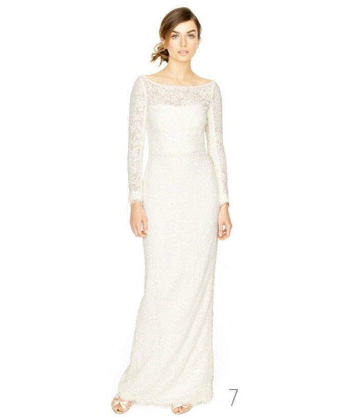 Vestido de novia recto con mangas de encaje - Foto: JCrew Wedding Collection 2012