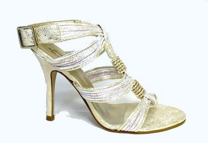 Guetty Sun - sandales en cuir or et moiré