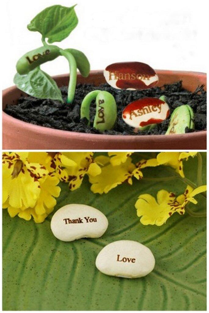 Fríjoles de la suerte personalizados. Foto: greenwedingshoes.com