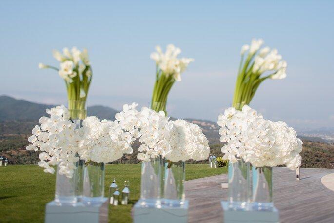 Des compositions de fleurs blanches avec un joli paysage en toile de fond