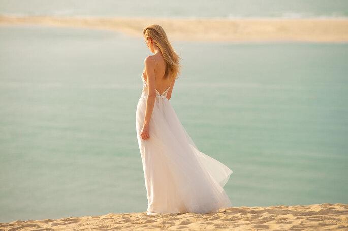 Robe de mariée bohème avec un dos nu