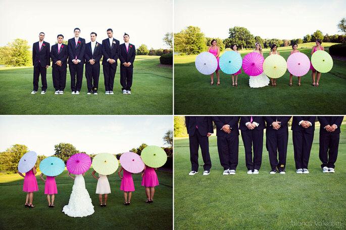 Las fotos de tu boda tendrán un toque muy especial con sombrillas de colores. Foto: Bianca Valentim