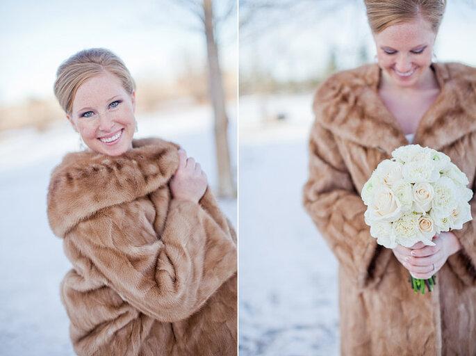 novia con abrigo de piel