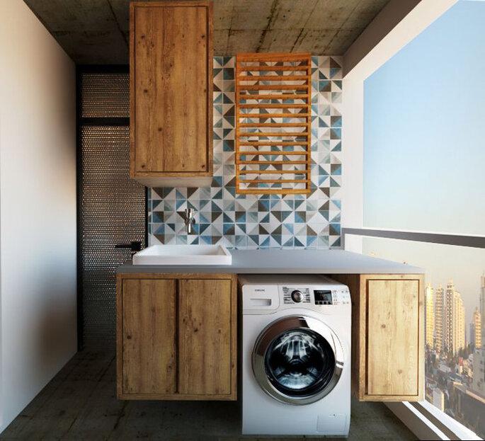 Lavanderia em tons de madeira, cinza e azul
