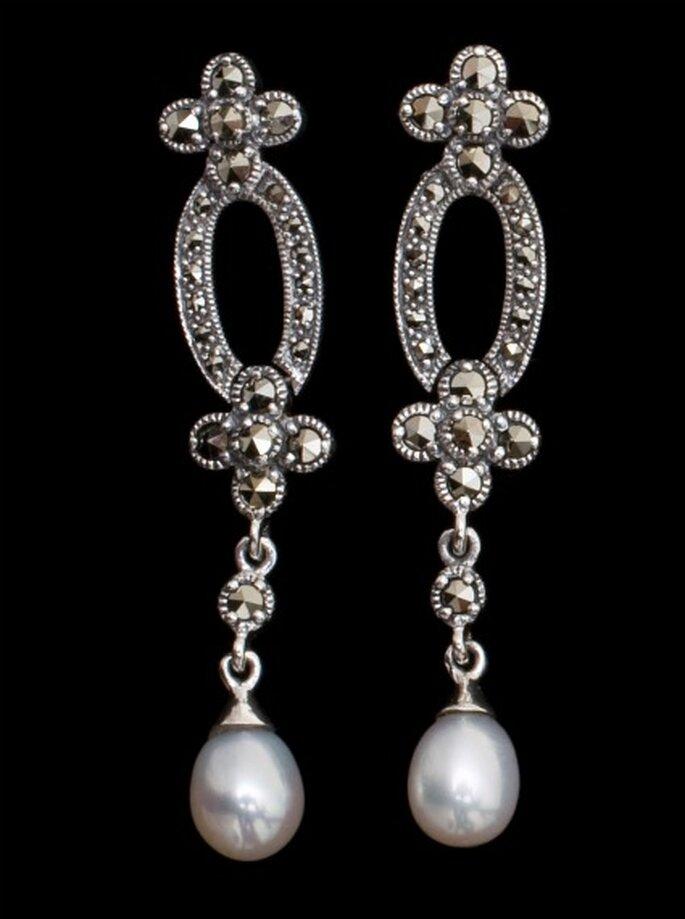 Pendientes de novia con perlas