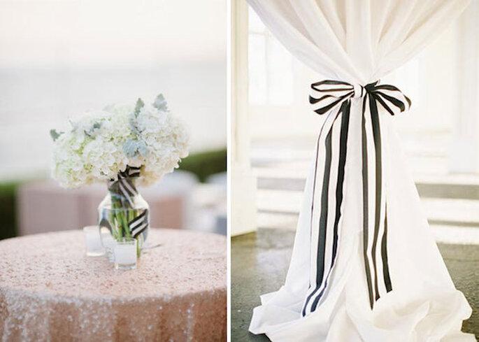 Suma el blanco y negro en la decoración de tu boda - Fotos Elizabeth Anne Designs y Landon Jacob Photography