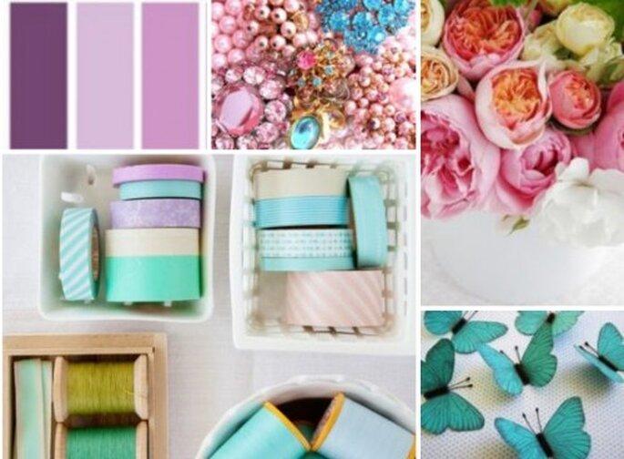 Todos los detalles para tu boda en colores pastel. Foto: BHLDN