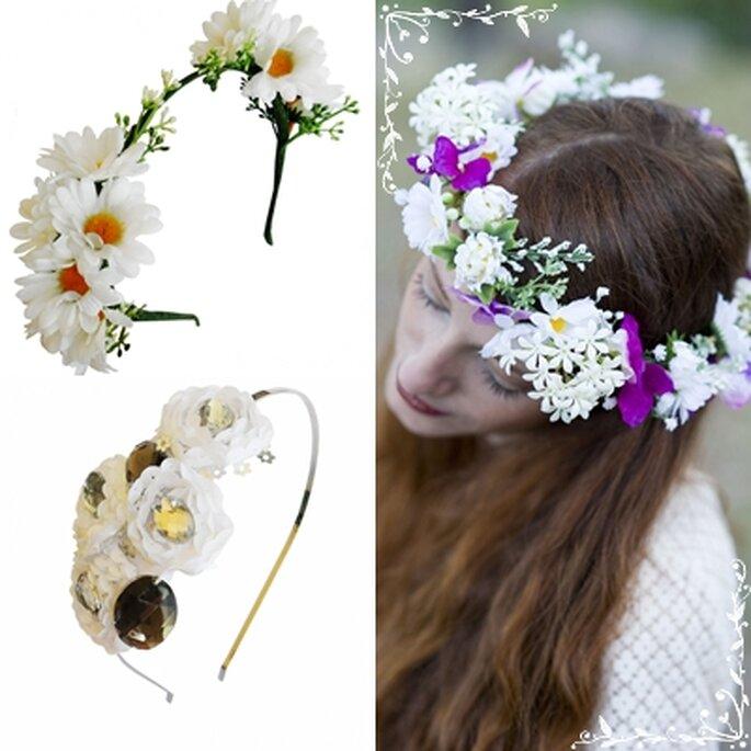 Diademas de flores, también para las niñas de la boda. Foto: Laliblue