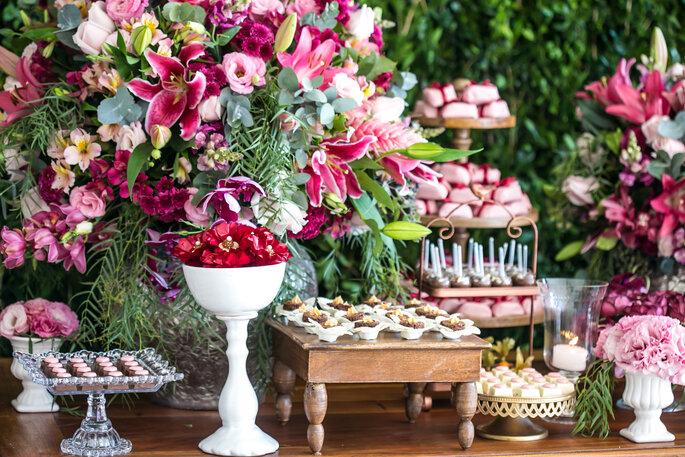 Mesa de doces casamento floral
