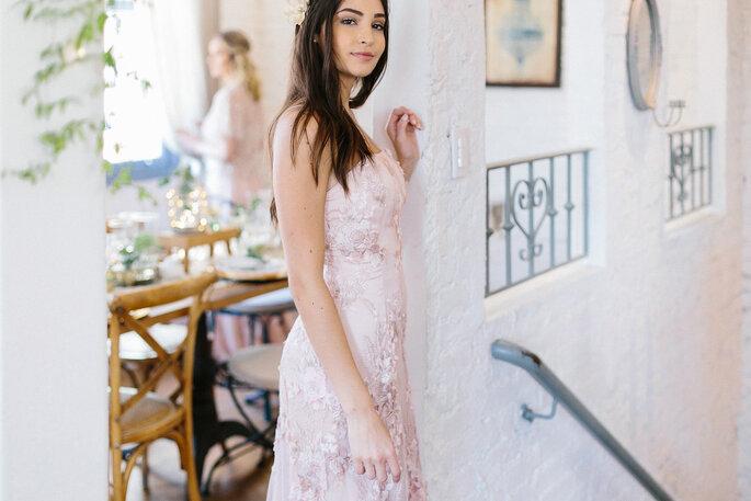 Vestido rosé para madrinha de casamento