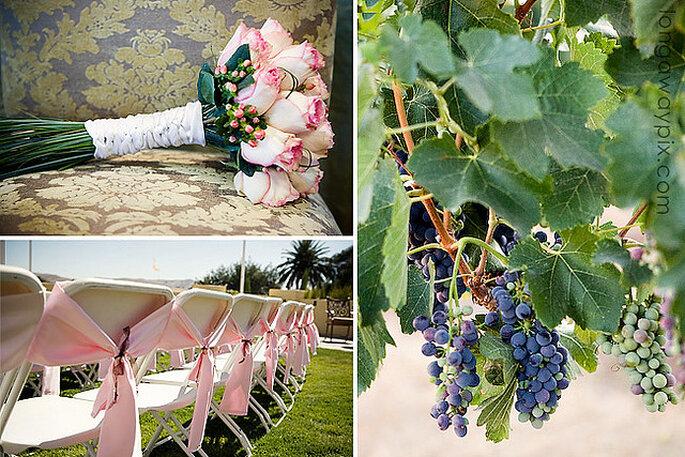 Decoración en una boda en un viñedo. Foto: Jennifer Longaway