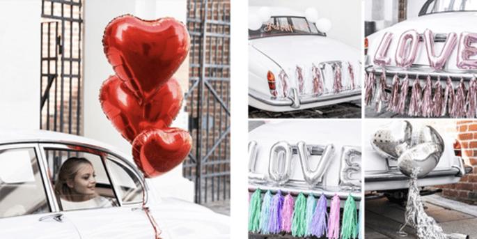 Ballon coeur rouge et Kits voiture complets