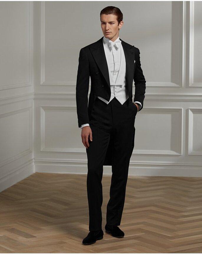 frac formal como traje de novio para boda en ckásico blanco y negro