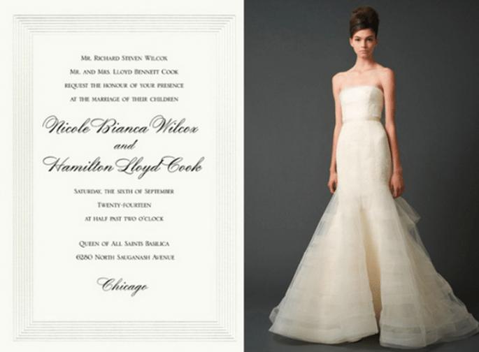 Invitación de boda inspirada en el vestido de novia modelo Georgina - Foto Vera Wang