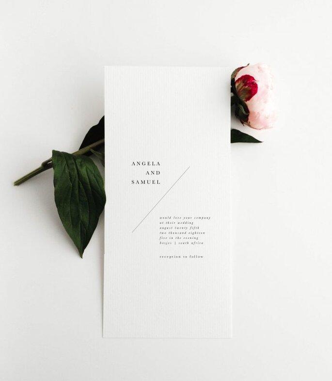 Hochzeitseinladungen modern und minimalistisch Hochformat