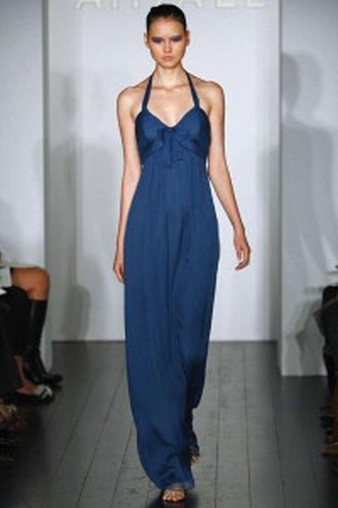 Vestido color azul con cuello halter
