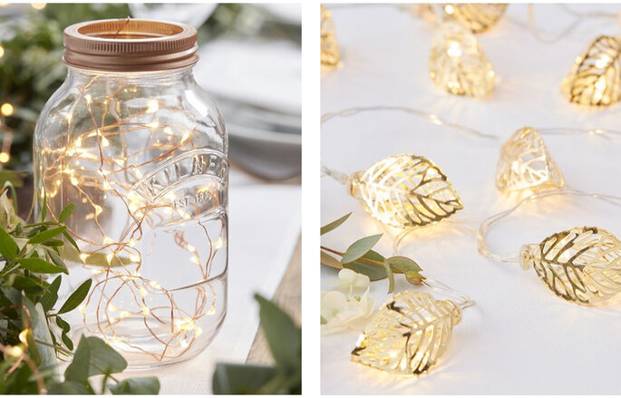 Iluminación con guirnaldas y hojas