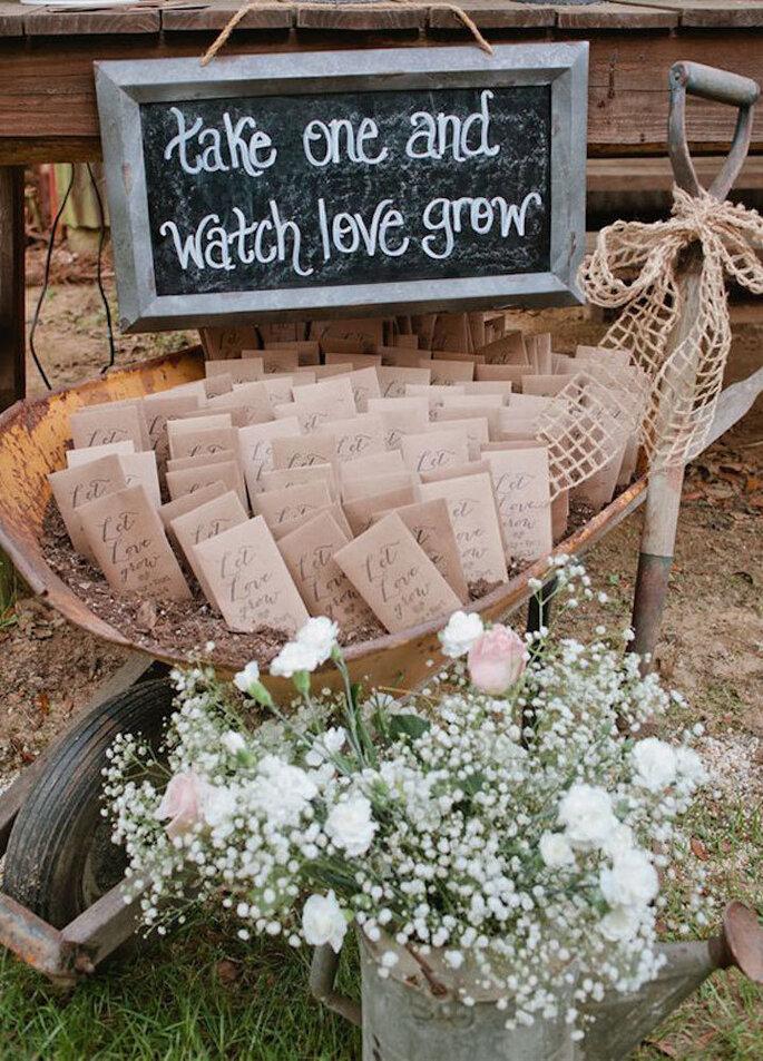 carrinho de mão com sementes