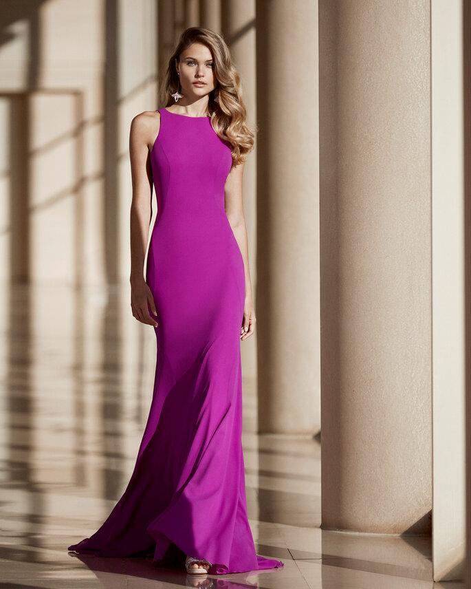 vestido largo fucsia