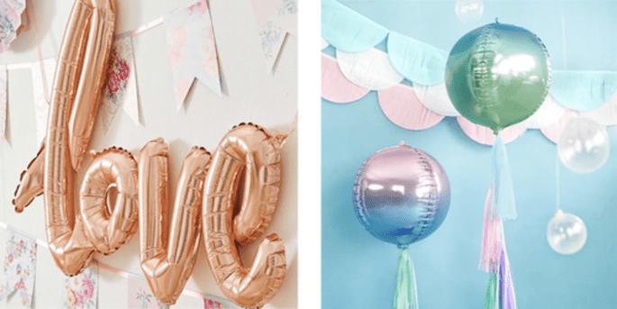 Ballon love rose or et Ballon foil sphérique holographique bleu et vert