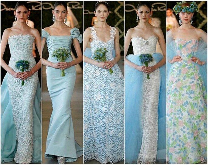 Ecco uno degli abiti da sposa colorati nell anticipazione della Collezione  abiti da sposa colorati di Oscar de la Renta affd39b29389