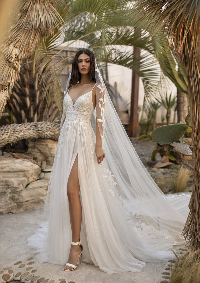 Vestido de novia línea A para la playa