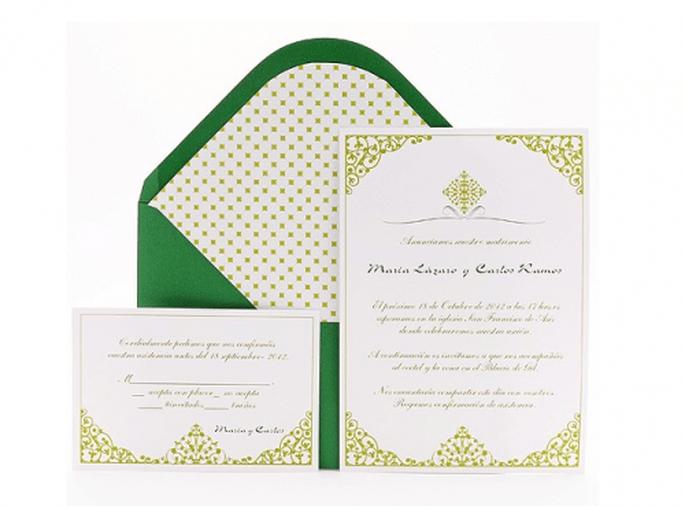 Invitaciones de boda en color verde esmeralda - Foto Azul Sahara