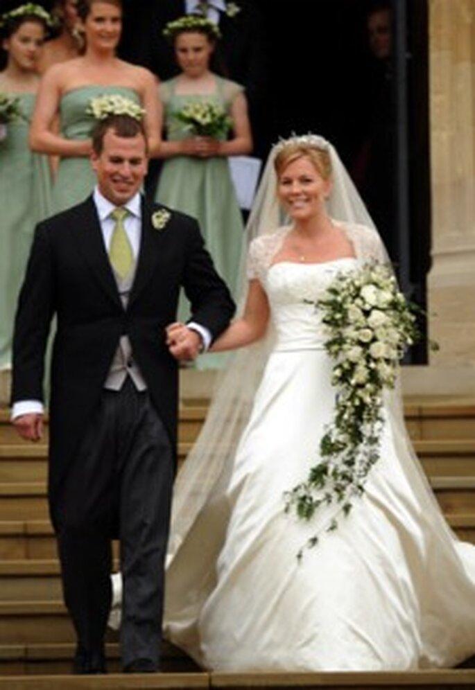Peter Phillips se casó con Autumn Kelly en 2008. Su vestido fue diseñado por Sassi Holford