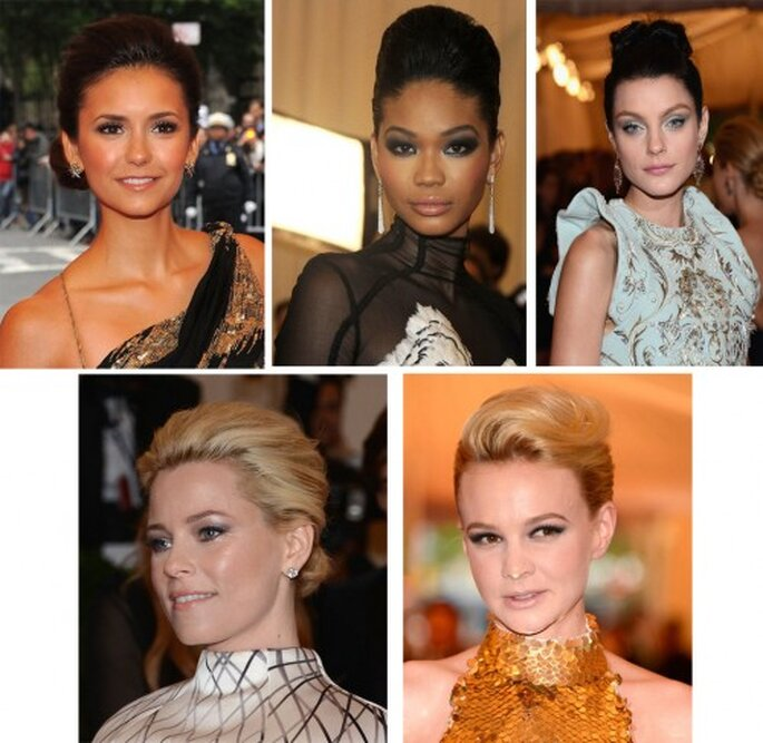 Nina Dobrev, Chanel Iman, Jessica Stam, Elizabeth Banks y Carey Mulligan en el MET Gala 2012 - Foto Getty