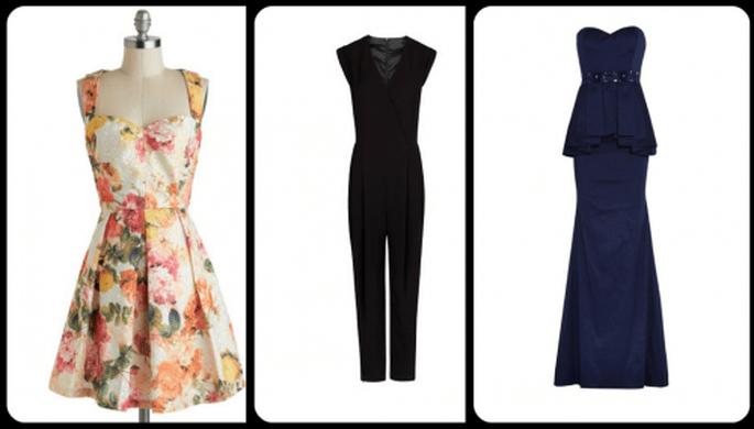 Vestidos de fiesta inspirados en celebrities: Fotos: vestido de Louche, jumpsuit de Mango y vestido largo de Badgley Mischka
