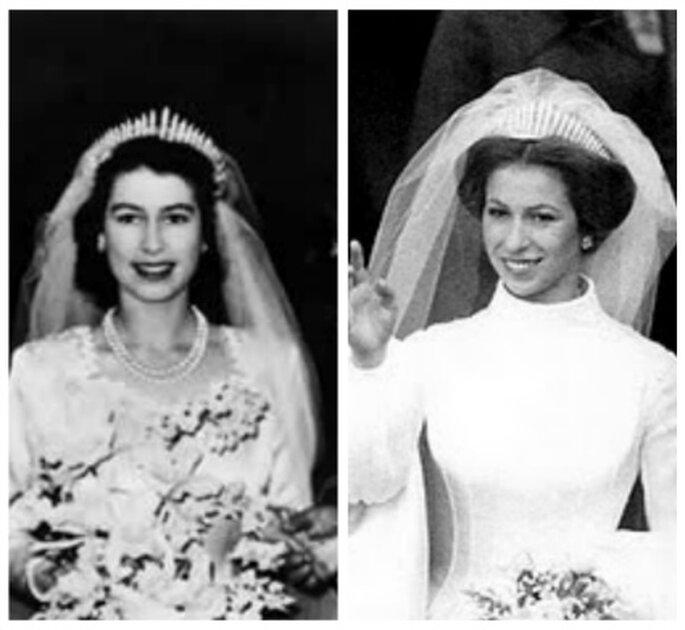 La Reina Isabel II y su hija Ana usaron la Tiara Fringe en sus bodas