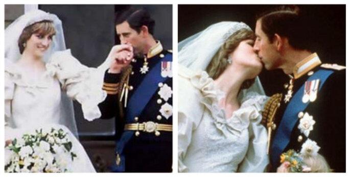 Los besos de la boda de Carlos de Inglaterra y Lady Di