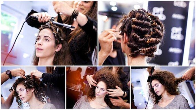 Realizzazione passo passo del look da sposa moderno della stilista Isabel Zapardiez su una modella della passerella Cibeles Novias 2013. Foto: Art Lab