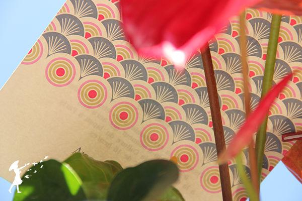Collection Balinaise : Des faire-part colorés et exotique. À l'image des îles indonésienne, de l'été, des vacances au bords de la mer et des palmiers tout autour.