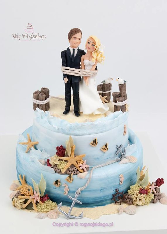 Tort weselny morski marynistyczny