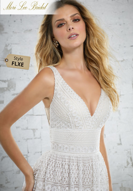 Style FLXE Katriane Wedding Dress  Soft and Ethereal, This French Patterned, Guipure Lace Gown is Perfect for the Boho Bride. Colors Available: White, Ivory, Ivory/Crème