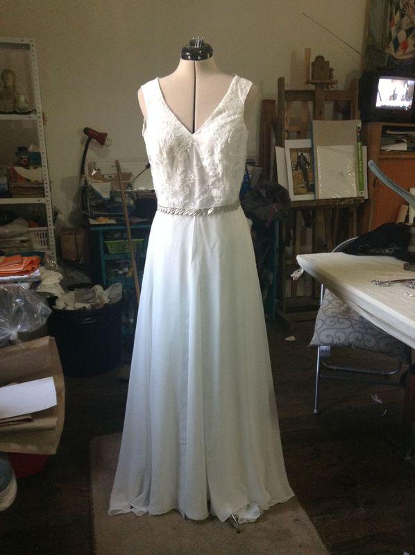 Vestido novia con macramé