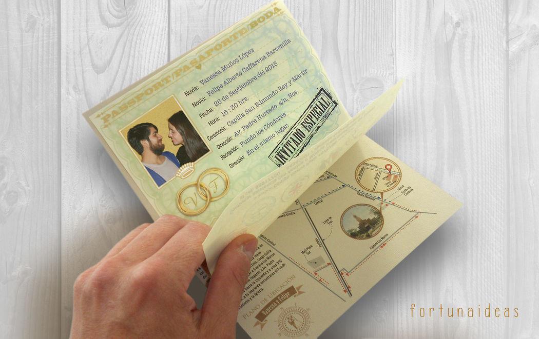 Pasaportes Boda con Plano de ubicación