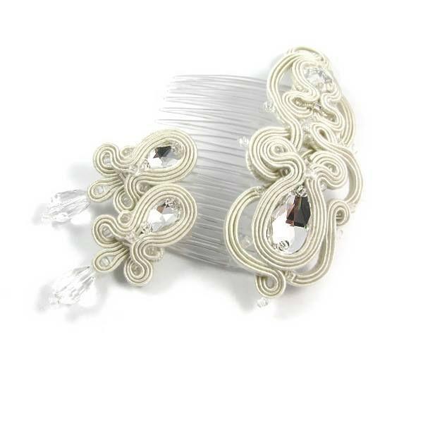 Małgorzata Sowa - PiLLow Design, Biżuteria ślubna sutasz. Komplet ślubny - grzebyk do włosów i sztyfty, kryształy górskie, Swarovski, sutasz, srebro