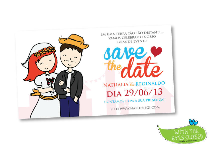 With the eyes closed. - Save the date digital