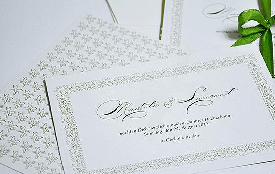 Beispiel: Kreative Hochzeitspapeterie, Foto: Ephemeres FEINE DRUCKSACHEN.