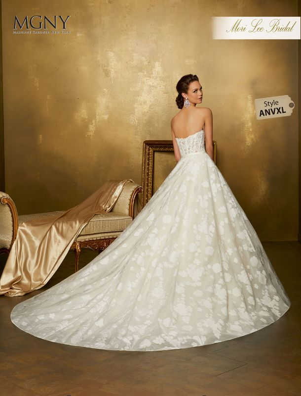 Style ANVXL Olenna  Frosted lace appliqués on a boned, corset bodice with satin waistband and floral printed organza skirt  Matching satin bodice lining included  Removable lace shoulder straps