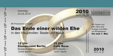 Beispiel: Hochzeitseinladungskarte, Foto: Kartendesign-Berlin.