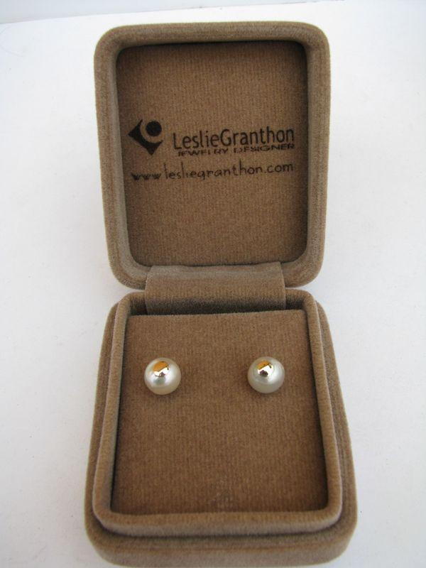 Aretes oro amarillo 18k y perlas cultivadas de mar