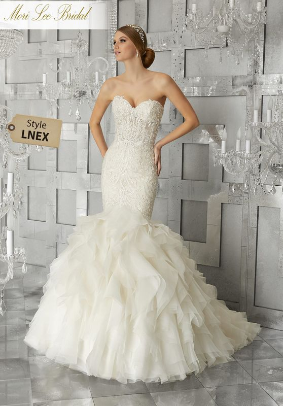 Style LNEX Muse Wedding Dress  Sculptured, Embroidered Appliqués with Crystal Beading on Hand-Cut, Cascading Organza Ruffled Mermaid. Matching Satin Bodice Lining Included.Available in Three Lengths: 55″, 58″, 61″