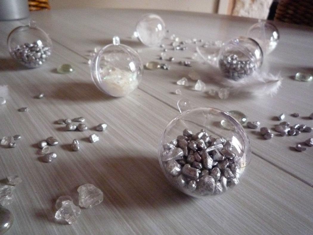 Décoration de table, gris,blanc, argent