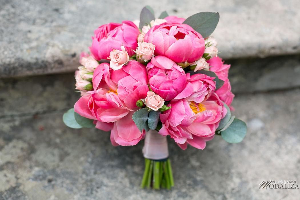 Bouquet de mariée pivoines roses - Modaliza Photographe