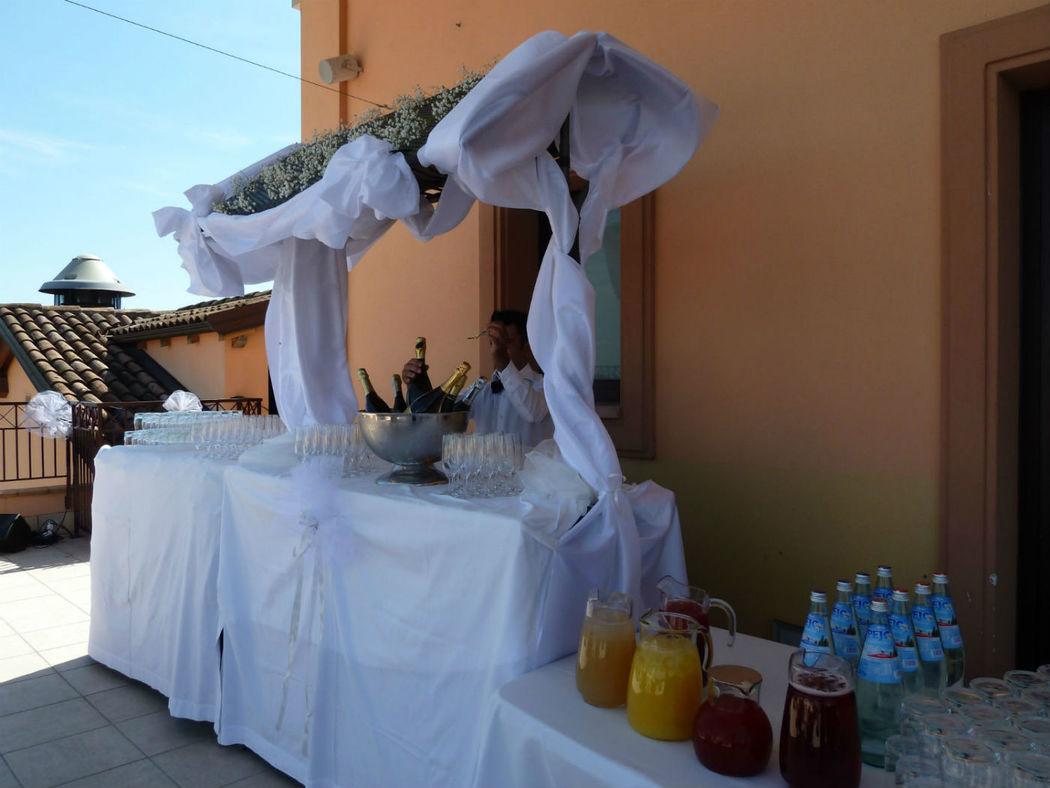buffet di benvenuto sull terrazza dei ciliegi