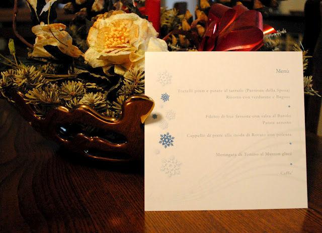 Menu per matrimonio invernale a tema fiocco di neve su cartoncino perlato